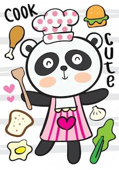 Desenhos animados bonitos do cozinheiro chefe da panda