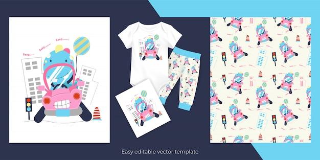 Desenhos animados bonitos do dinossauro bebê com carro rosa e design de padrão perfeito para crianças