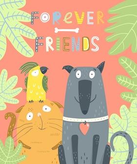Desenhos animados bonitos do gato e do papagaio do cão