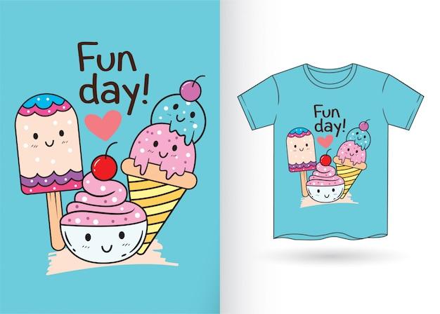Desenhos animados bonitos do gelado para a camisa de t