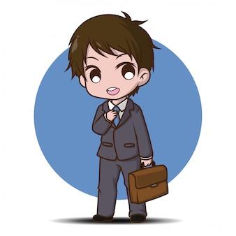 Desenhos animados bonitos do homem de negócio, conceito de trabalho.