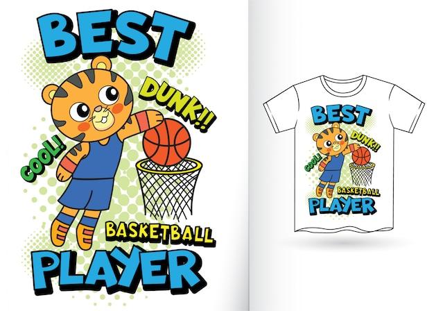 Desenhos animados bonitos do jogador de basquetebol do tigre para o tshirt
