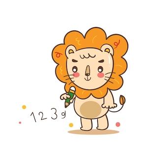 Desenhos animados bonitos do leão do ilustrador