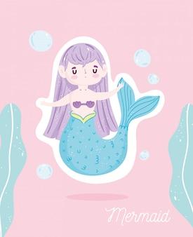 Desenhos animados bonitos do mar com bolhas de sereia