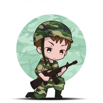 Desenhos animados bonitos do menino do soldado do exército.