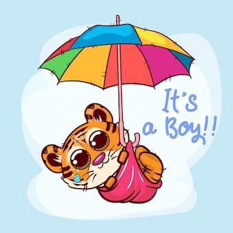 Desenhos animados bonitos do tigre que voam com guarda-chuva. vetor