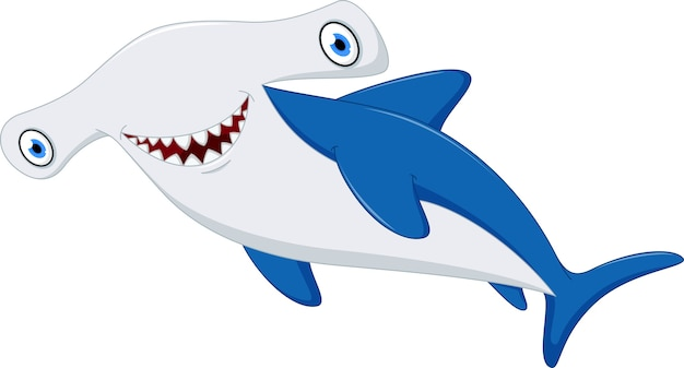 Desenhos animados bonitos do tubarão de hammerhead
