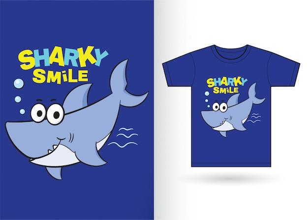 Desenhos animados bonitos do tubarão para a camisa de t