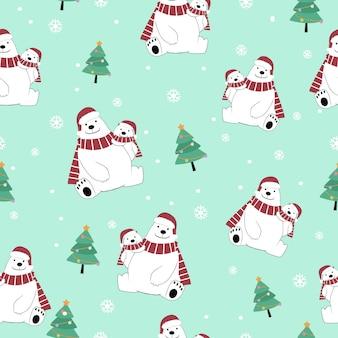 Desenhos animados bonitos do urso polar da mamã e do bebê
