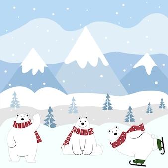 Desenhos animados bonitos do urso polar felizes no inverno.