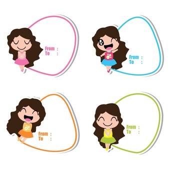 Desenhos animados bonitos do vetor da menina colorida para etiquetas do presente do miúdo