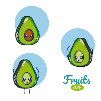 Desenhos animados bonitos dos frutos dos abacates
