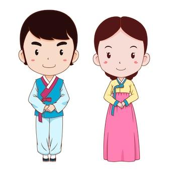 Desenhos animados bonitos dos pares no traje tradicional coreano.