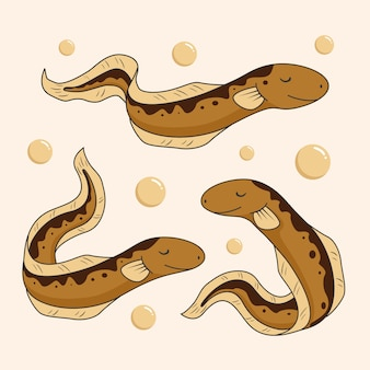 Desenhos animados bonitos dos peixes da enguia elétrica