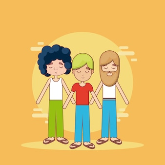 Desenhos animados bonitos dos povos do hippie