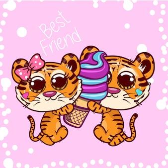 Desenhos animados bonitos dos tigres com gelado doce. vetor