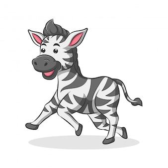 Desenhos animados bonitos e felizes da zebra