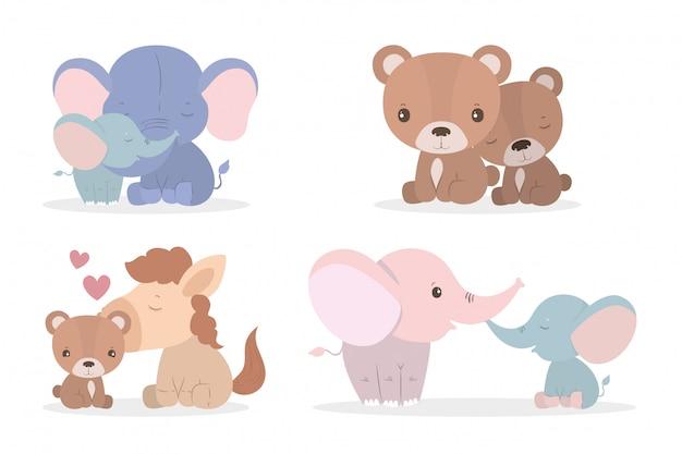 Desenhos animados bonitos elefantes cavalos e ursos mães e filhotes conjunto