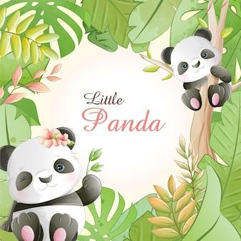 Desenhos animados bonitos em aquarela, panda pequeno com flores