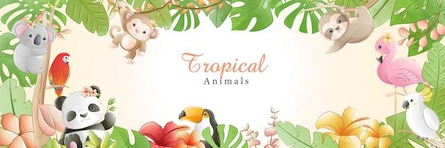 Desenhos animados bonitos em aquarela pequenos animais tropicais com flores