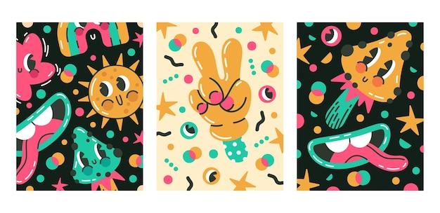 Desenhos animados bonitos emojis em quadrinhos abstratos e cartazes de personagens de doodle