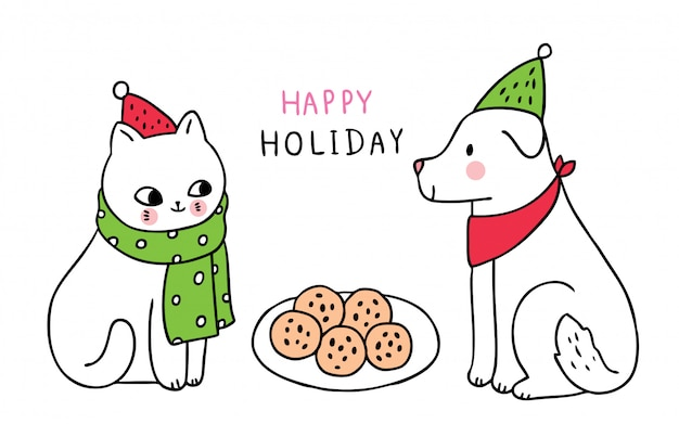 Desenhos animados bonitos gato e cachorro de natal comendo biscoitos.