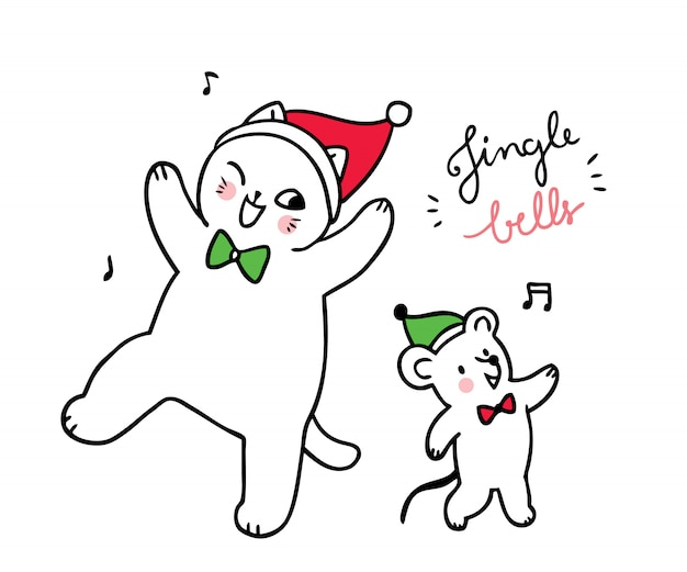 Desenhos animados bonitos gato e rato de natal dançando música de sino jinger.