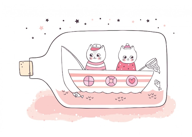 Desenhos animados bonitos gatos brancos pescando na garrafa de vidro.
