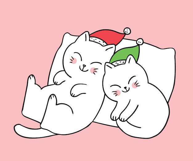Desenhos animados bonitos gatos casal de natal dormindo.