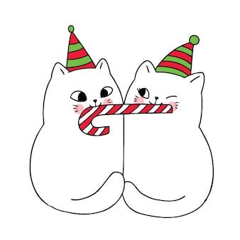 Desenhos animados bonitos gatos casal de natal e doce doce