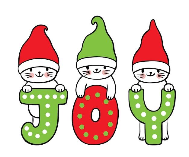 Desenhos animados bonitos gatos de natal e ano novo e vetor de alegria