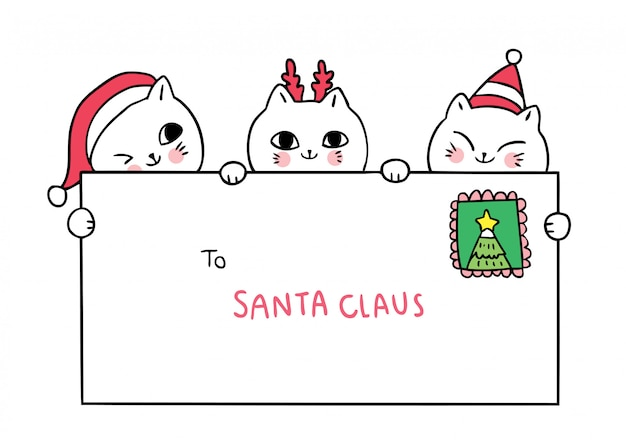 Desenhos animados bonitos gatos de natal e carta ao papai noel
