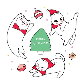 Desenhos animados bonitos gatos de natal e enfeites de bola