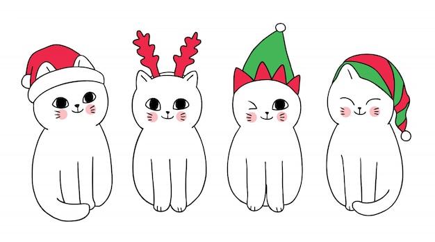 Desenhos animados bonitos gatos e chapéu de natal.
