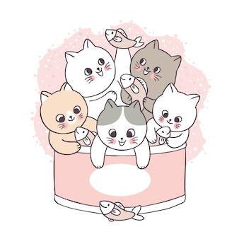 Desenhos animados bonitos gatos e peixes em comida de lata