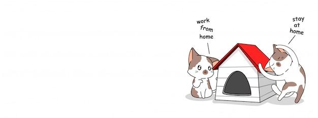 Desenhos animados bonitos gatos estão dizendo que trabalham em casa e ficam em casa