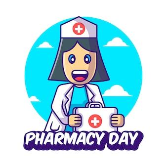 Desenhos animados bonitos ilustrações vetoriais de enfermeira com kit de ajuda para o dia da farmácia