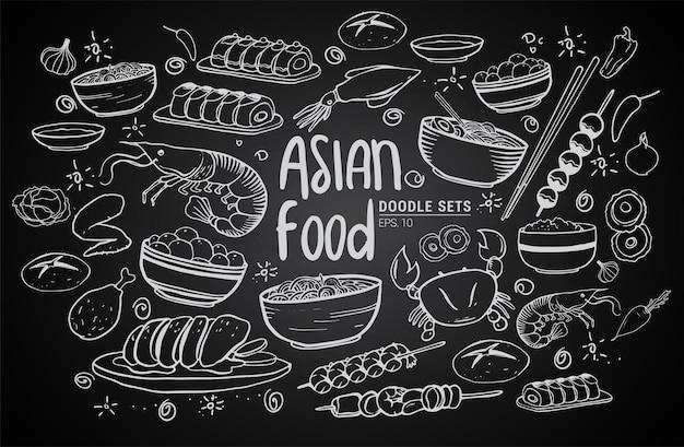 Desenhos animados bonitos mão desenhada padrão sem emenda de comida de japão. arte de linha com muitos objetos de fundo. ilustração em vetor engraçado sem fim. pano de fundo esboçado com itens e símbolos da culinária asiática