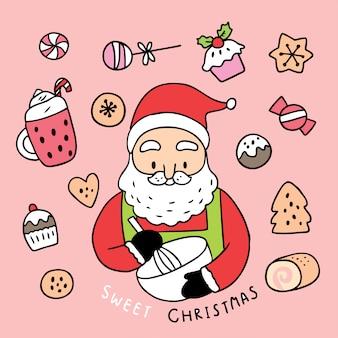 Desenhos animados bonitos natal papai noel e bolo doce.