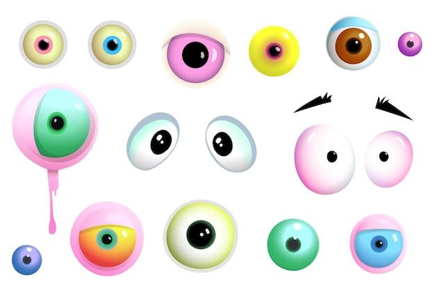 Desenhos animados bonitos olhos de monstros e criaturas com diferentes formas e cores de objetos isolados