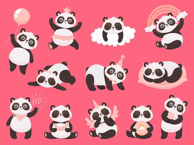 Desenhos animados bonitos panda.