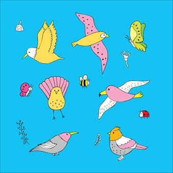 Desenhos animados bonitos pássaros e insetos.