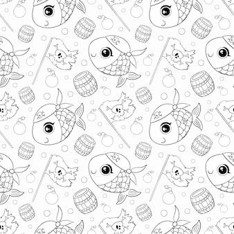 Desenhos animados bonitos piratas animais padrão sem emenda. doodle padrão de pirata de peixe. página para colorir de peixe pirata