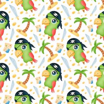 Desenhos animados bonitos piratas animais padrão sem emenda. padrão de papagaio pirata