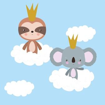 Desenhos animados bonitos preguiça e coala