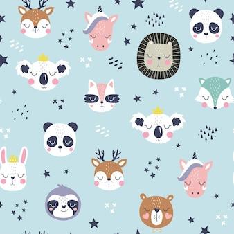 Desenhos animados bonitos rostos de animais. padrão de animais fofos de boho.