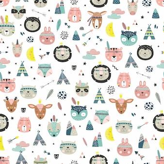 Desenhos animados bonitos rostos tribais de animais. padrão de animais fofos de boho.