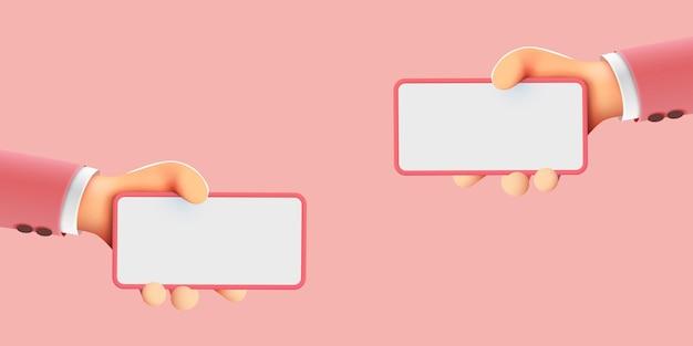 Desenhos animados bonitos segurando uma maquete moderna de telefone móvel inteligente