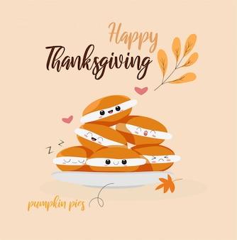 Desenhos animados bonitos tortas de abóbora para o dia de ação de graças