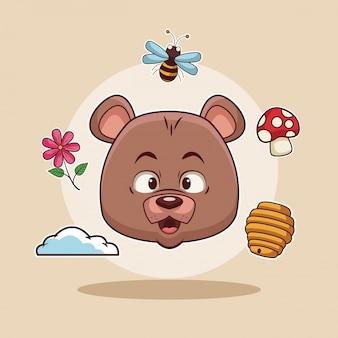 Desenhos animados cabeça urso